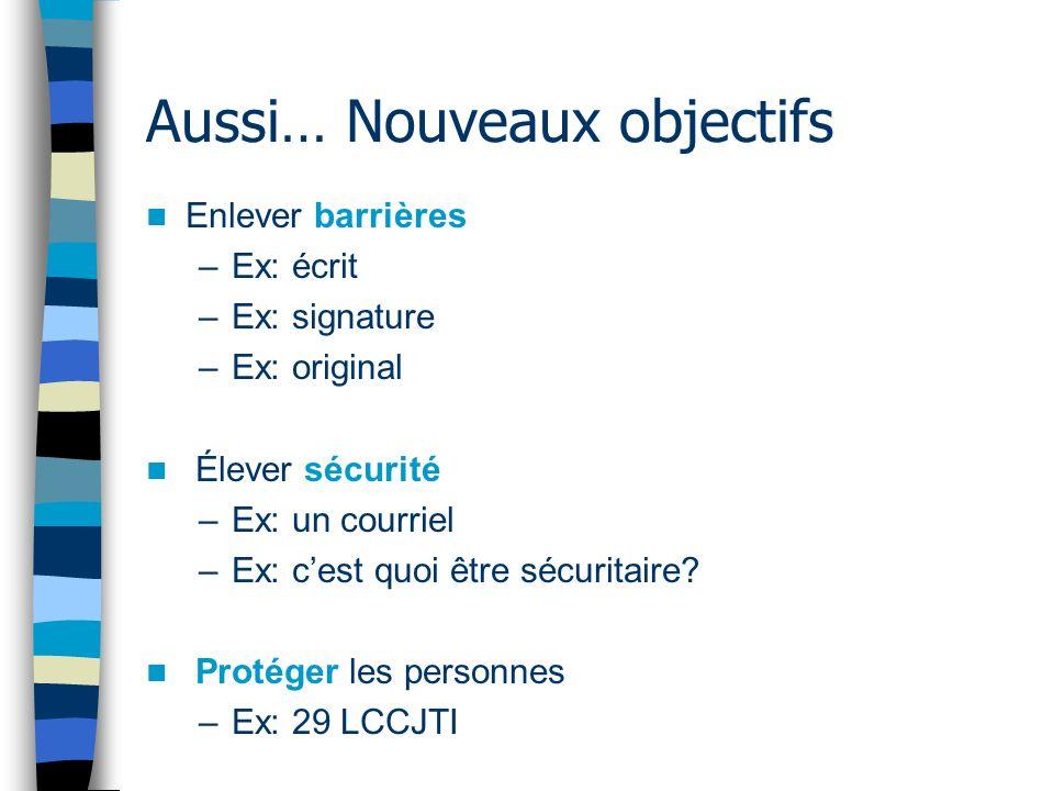 Aussi… Nouveaux objectifs Enlever barrières –Ex: écrit –Ex: signature –Ex: original Élever sécurité –Ex: un courriel –Ex: cest quoi être sécuritaire.