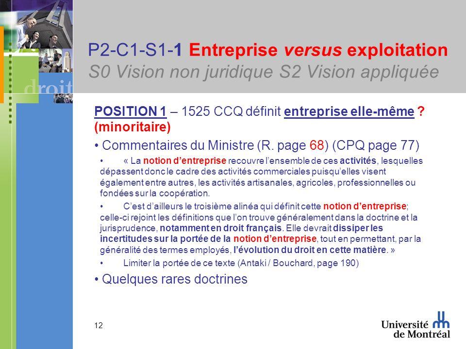 12 P2-C1-S1-1 Entreprise versus exploitation S0 Vision non juridique S2 Vision appliquée POSITION 1 – 1525 CCQ définit entreprise elle-même ? (minorit