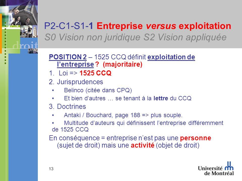 13 P2-C1-S1-1 Entreprise versus exploitation S0 Vision non juridique S2 Vision appliquée POSITION 2 – 1525 CCQ définit exploitation de lentreprise ? (