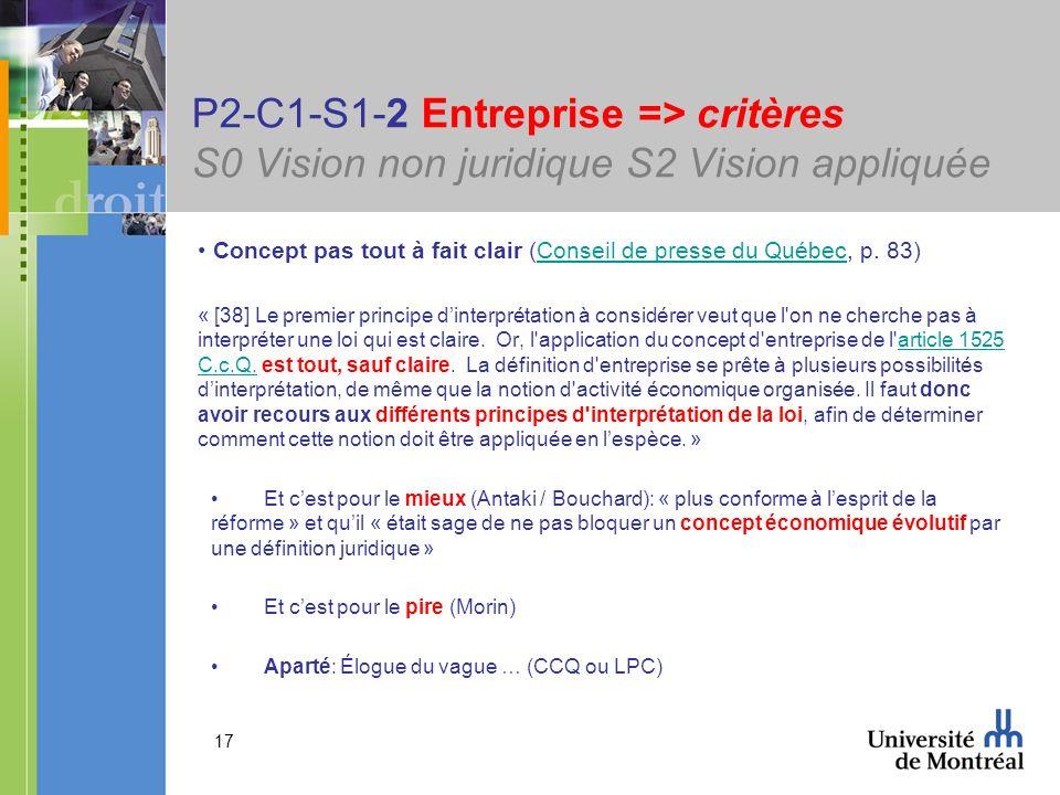 17 P2-C1-S1-2 Entreprise => critères S0 Vision non juridique S2 Vision appliquée Concept pas tout à fait clair (Conseil de presse du Québec, p. 83)Con