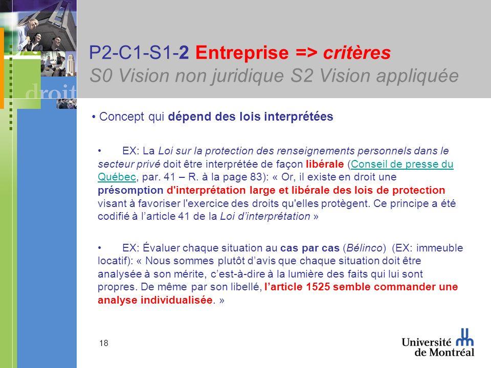 18 P2-C1-S1-2 Entreprise => critères S0 Vision non juridique S2 Vision appliquée Concept qui dépend des lois interprétées EX: La Loi sur la protection