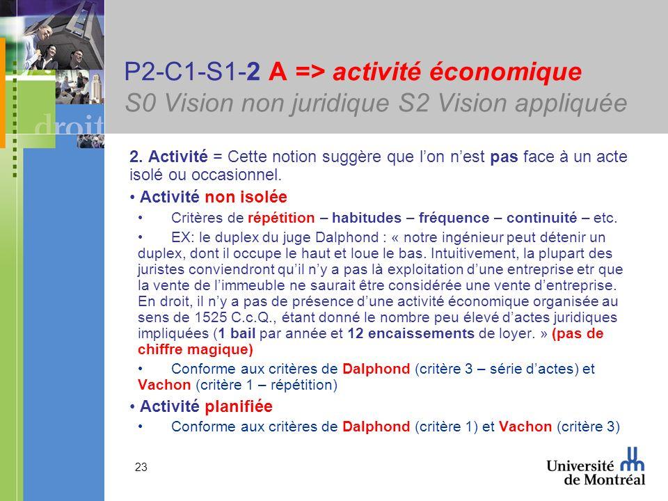 23 P2-C1-S1-2 A => activité économique S0 Vision non juridique S2 Vision appliquée 2. Activité = Cette notion suggère que lon nest pas face à un acte