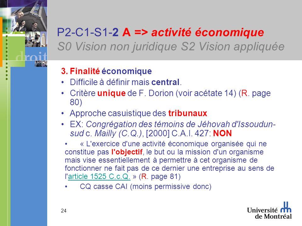 24 P2-C1-S1-2 A => activité économique S0 Vision non juridique S2 Vision appliquée 3.Finalité économique Difficile à définir mais central. Critère uni