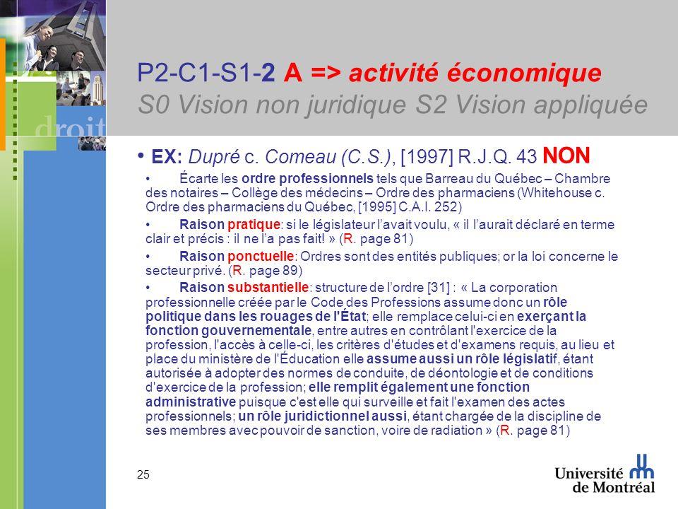 25 P2-C1-S1-2 A => activité économique S0 Vision non juridique S2 Vision appliquée EX: Dupré c. Comeau (C.S.), [1997] R.J.Q. 43 NON Écarte les ordre p