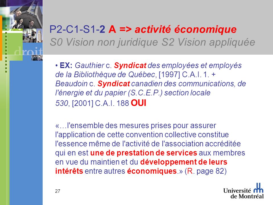 27 P2-C1-S1-2 A => activité économique S0 Vision non juridique S2 Vision appliquée EX: Gauthier c. Syndicat des employées et employés de la Bibliothèq