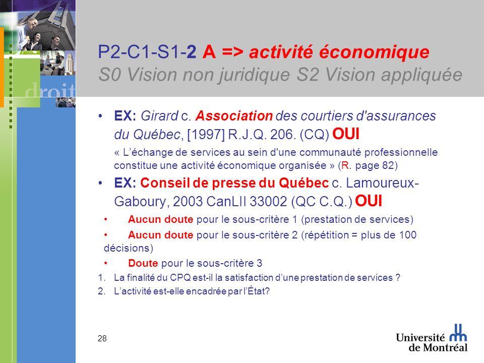 28 P2-C1-S1-2 A => activité économique S0 Vision non juridique S2 Vision appliquée EX: Girard c. Association des courtiers d'assurances du Québec, [19