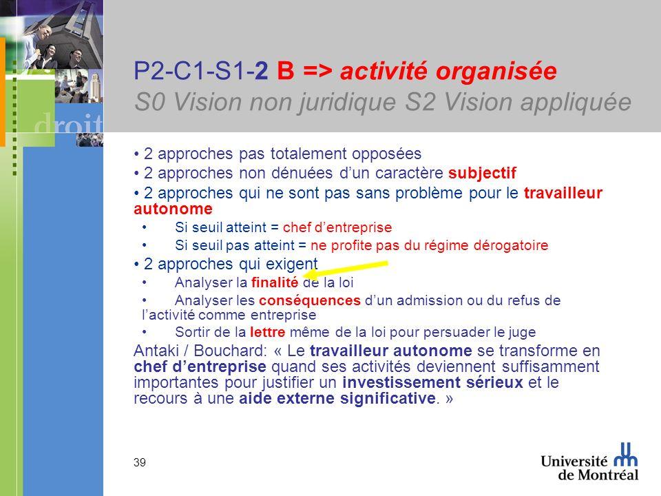 39 P2-C1-S1-2 B => activité organisée S0 Vision non juridique S2 Vision appliquée 2 approches pas totalement opposées 2 approches non dénuées dun cara