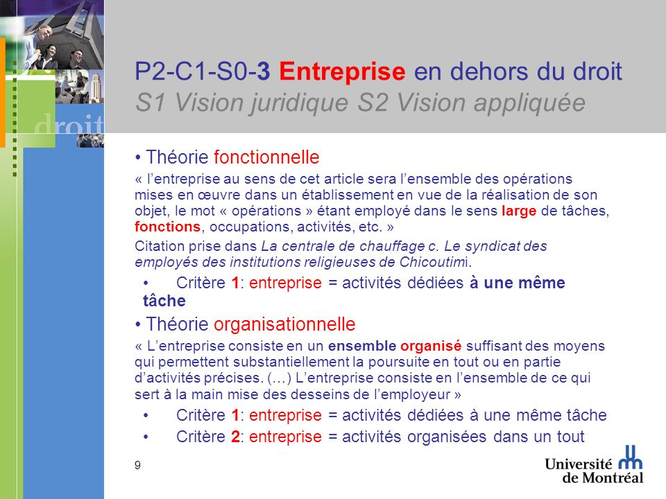 10 P2-C1-S0-3 Entreprise en dehors du droit S1 Vision juridique S2 Vision appliquée CSC dans Bibeault (1988)Bibeault « 166.