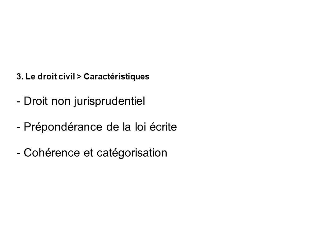 3. Le droit civil > Caractéristiques - Droit non jurisprudentiel - Prépondérance de la loi écrite - Cohérence et catégorisation