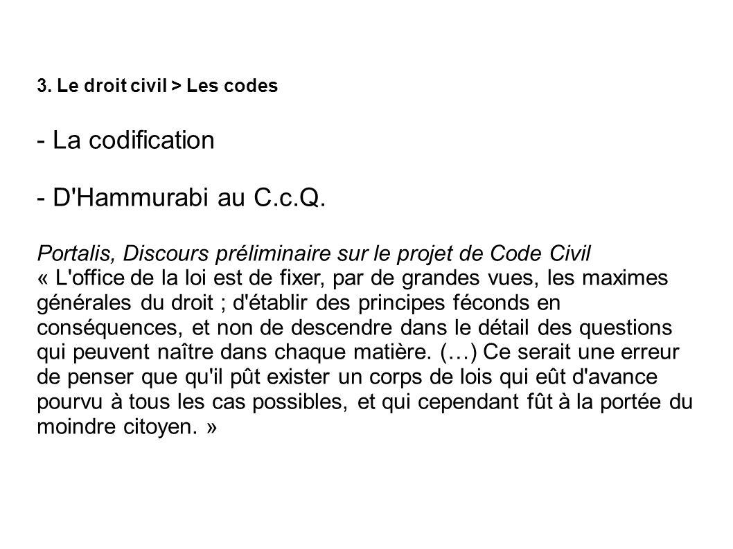 3. Le droit civil > Les codes - La codification - D'Hammurabi au C.c.Q. Portalis, Discours préliminaire sur le projet de Code Civil « L'office de la l