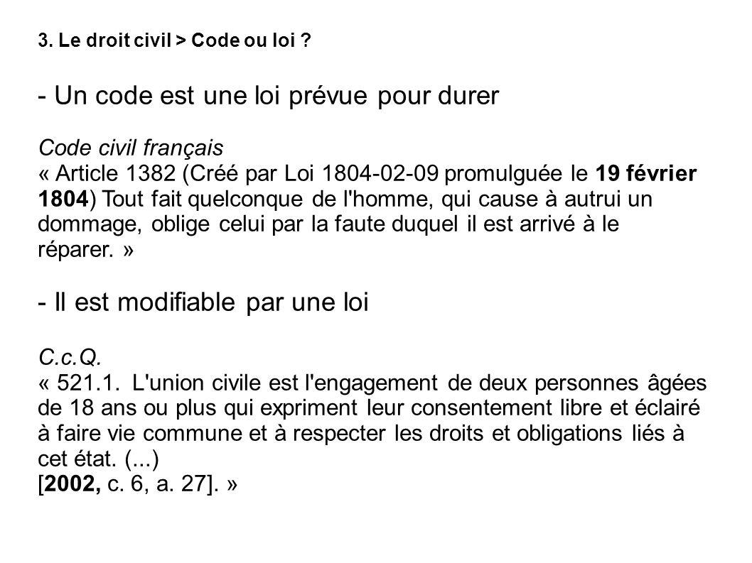 3. Le droit civil > Code ou loi ? - Un code est une loi prévue pour durer Code civil français « Article 1382 (Créé par Loi 1804-02-09 promulguée le 19