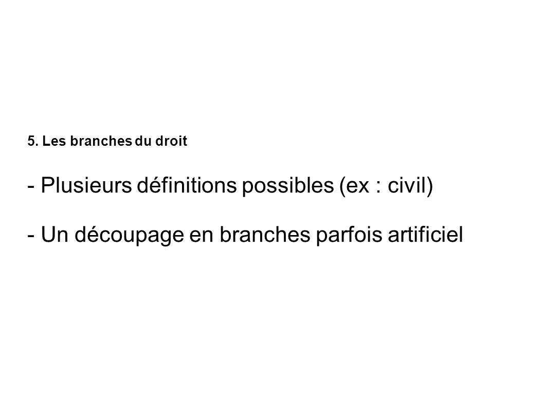 5. Les branches du droit - Plusieurs définitions possibles (ex : civil) - Un découpage en branches parfois artificiel