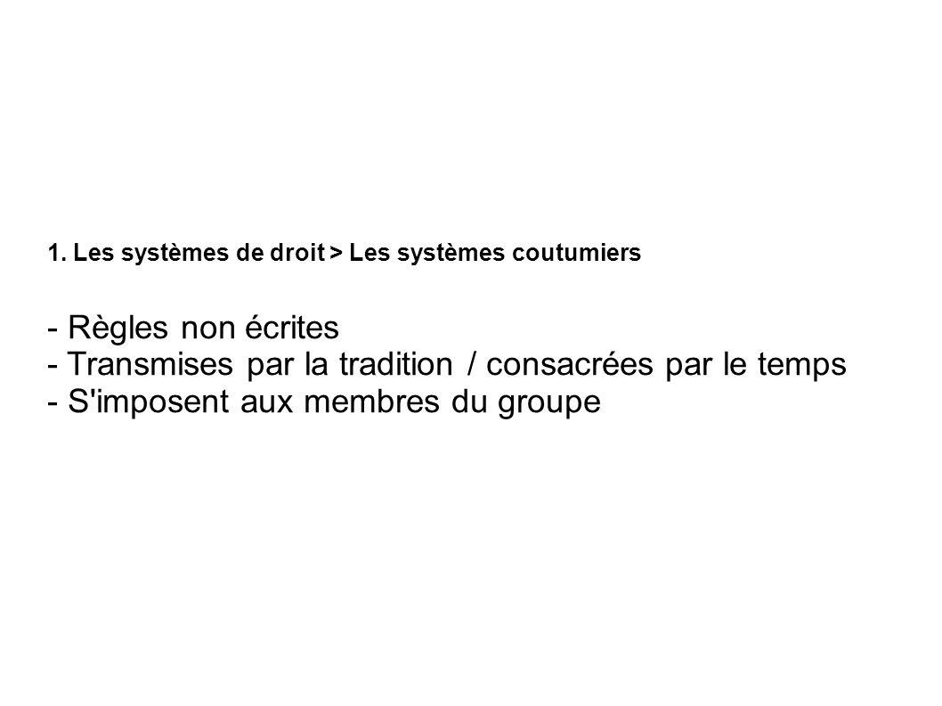 1. Les systèmes de droit > Les systèmes coutumiers - Règles non écrites - Transmises par la tradition / consacrées par le temps - S'imposent aux membr