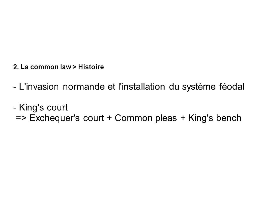 2. La common law > Histoire - L'invasion normande et l'installation du système féodal - King's court => Exchequer's court + Common pleas + King's benc