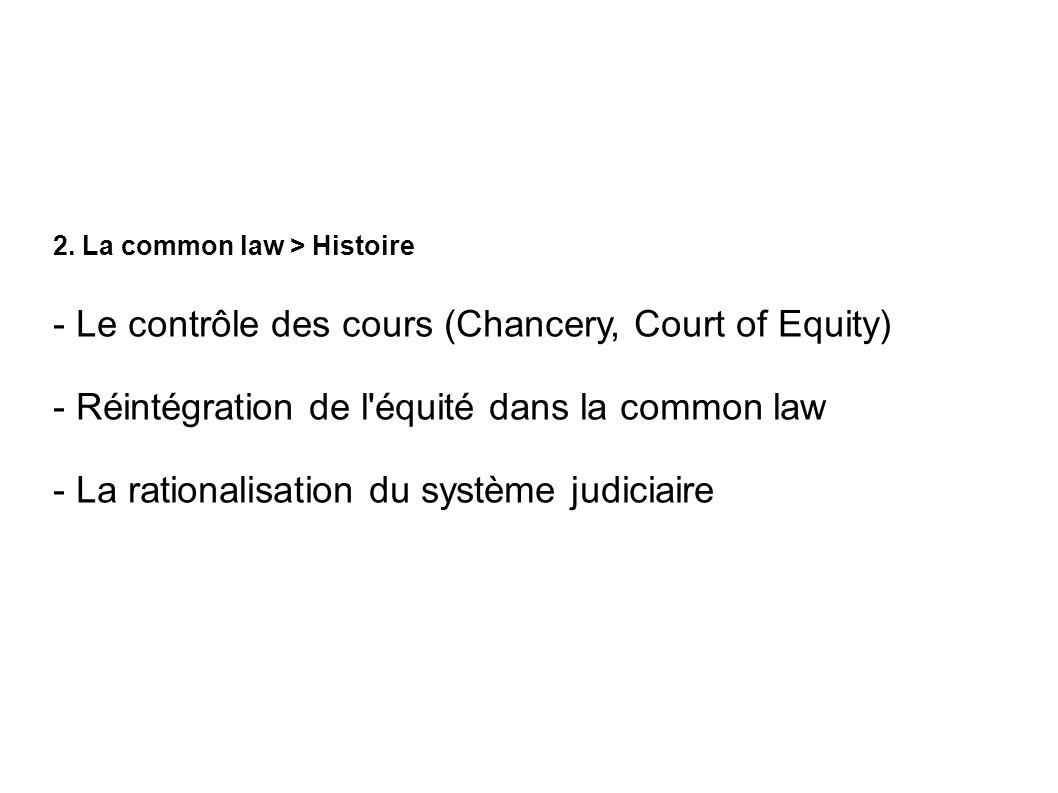 2. La common law > Histoire - Le contrôle des cours (Chancery, Court of Equity) - Réintégration de l'équité dans la common law - La rationalisation du