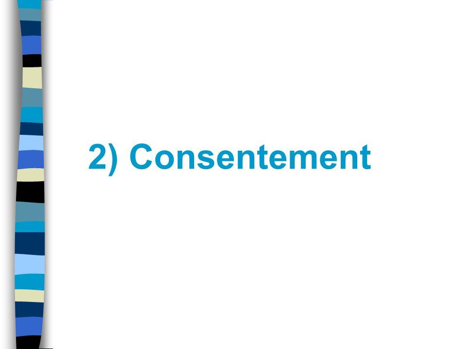 Consentement 1399 C.c.Q. –« Le consentement doit être libre et éclairé. »