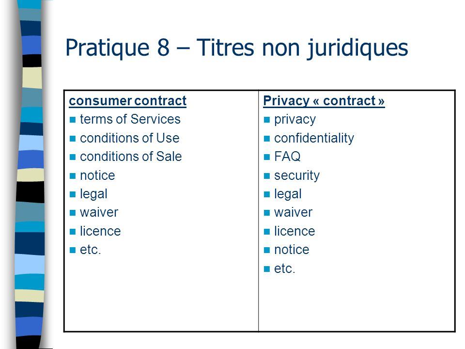 Pratique 8 – Titres non juridiques consumer contract terms of Services conditions of Use conditions of Sale notice legal waiver licence etc. Privacy «