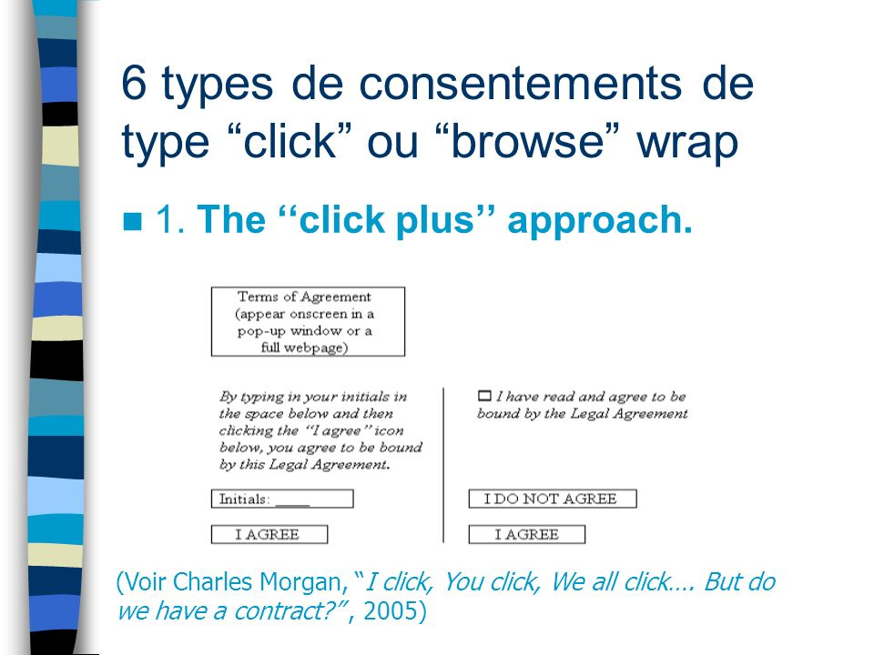 6 types de consentements de type click ou browse wrap 1. The click plus approach. (Voir Charles Morgan, I click, You click, We all click…. But do we h