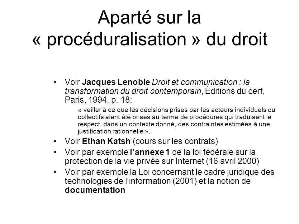 Aparté sur la « procéduralisation » du droit Voir Jacques Lenoble Droit et communication : la transformation du droit contemporain, Éditions du cerf,