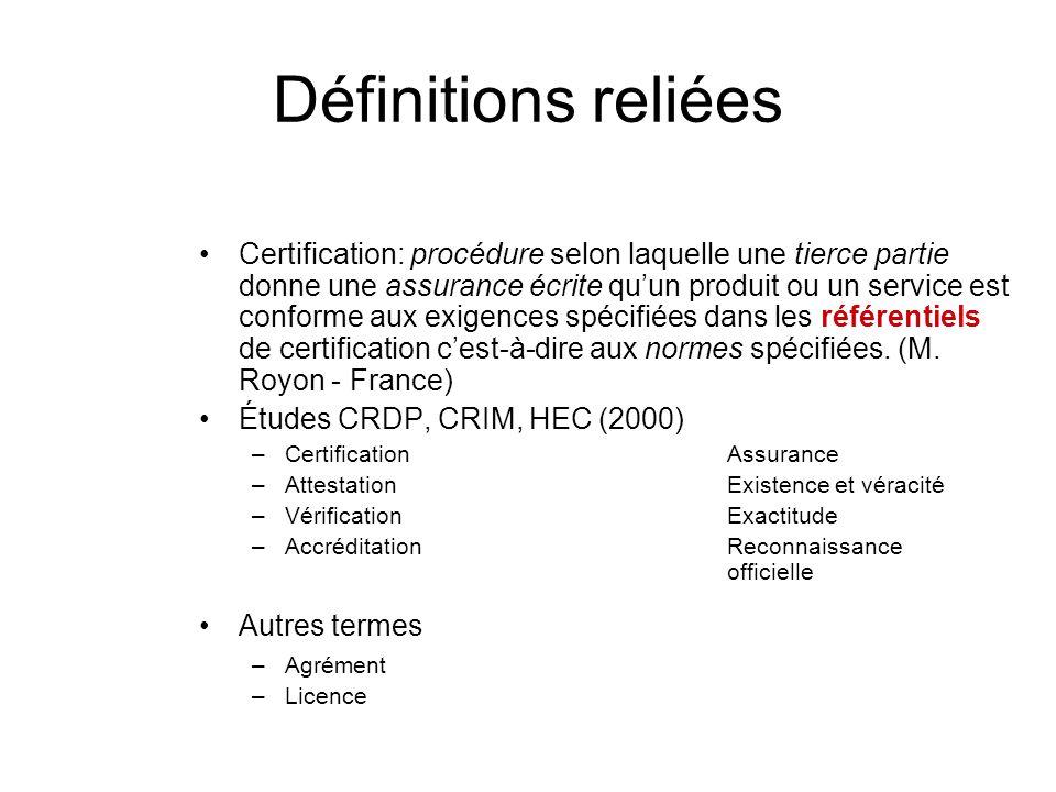 Définitions reliées Certification: procédure selon laquelle une tierce partie donne une assurance écrite quun produit ou un service est conforme aux e