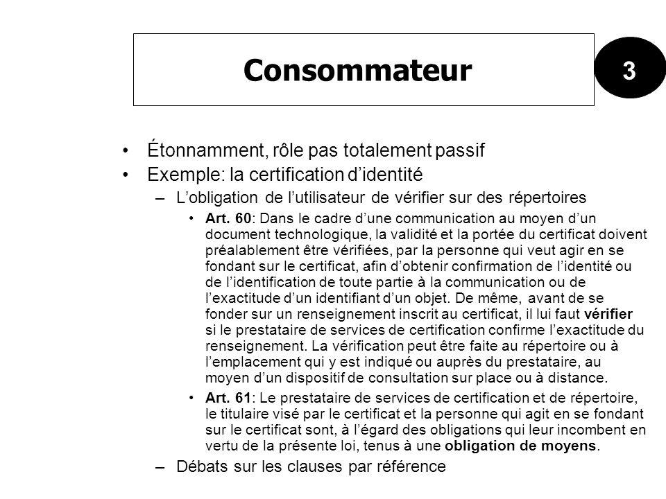 Étonnamment, rôle pas totalement passif Exemple: la certification didentité –Lobligation de lutilisateur de vérifier sur des répertoires Art. 60: Dans