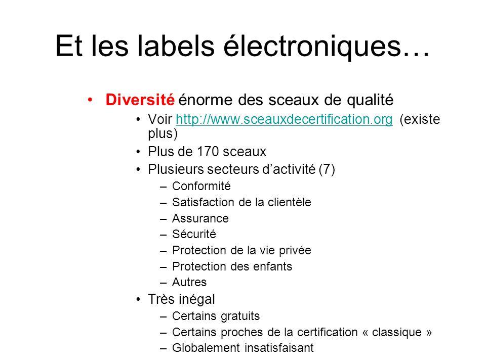 Et les labels électroniques… Diversité énorme des sceaux de qualité Voir http://www.sceauxdecertification.org (existe plus)http://www.sceauxdecertific