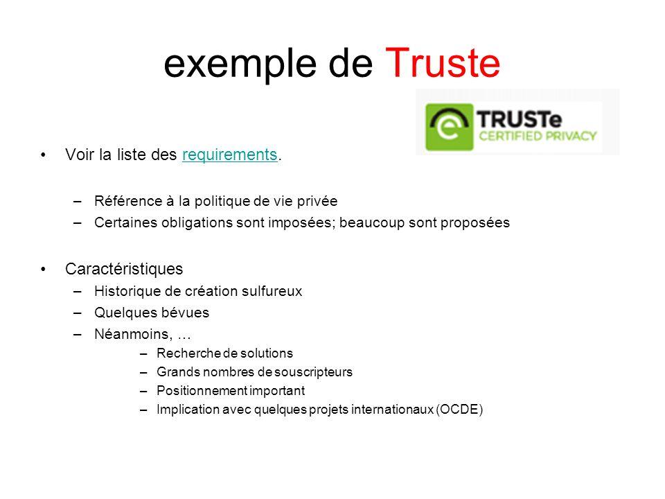 exemple de Truste Voir la liste des requirements.requirements –Référence à la politique de vie privée –Certaines obligations sont imposées; beaucoup s