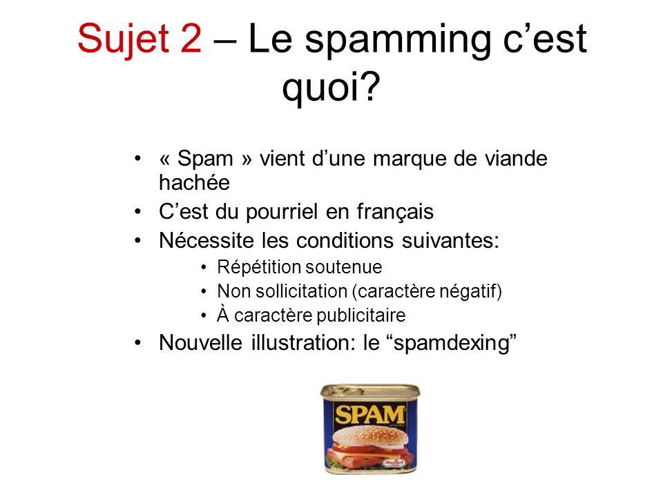 Sujet 2 – Le spamming cest quoi? « Spam » vient dune marque de viande hachée Cest du pourriel en français Nécessite les conditions suivantes: Répétiti