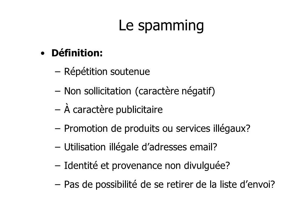 Le spamming Définition: –Répétition soutenue –Non sollicitation (caractère négatif) –À caractère publicitaire –Promotion de produits ou services illég