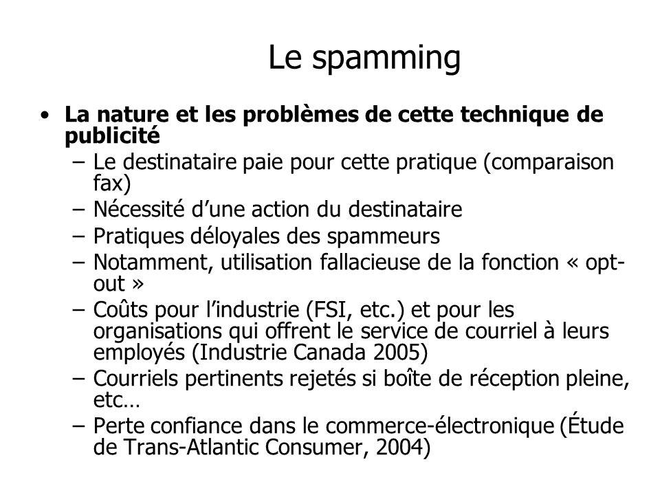 Le spamming La nature et les problèmes de cette technique de publicité –Le destinataire paie pour cette pratique (comparaison fax) –Nécessité dune act