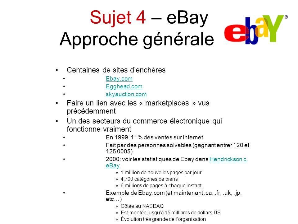 Sujet 4 – eBay Approche générale Centaines de sites denchères Ebay.com Egghead.com skyauction.com Faire un lien avec les « marketplaces » vus précédem