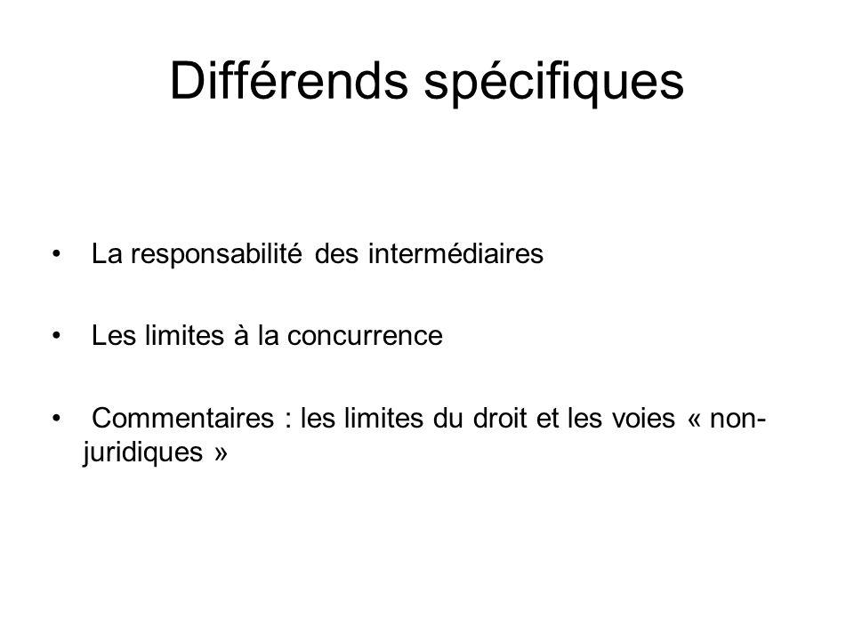 Différends spécifiques La responsabilité des intermédiaires Les limites à la concurrence Commentaires : les limites du droit et les voies « non- jurid