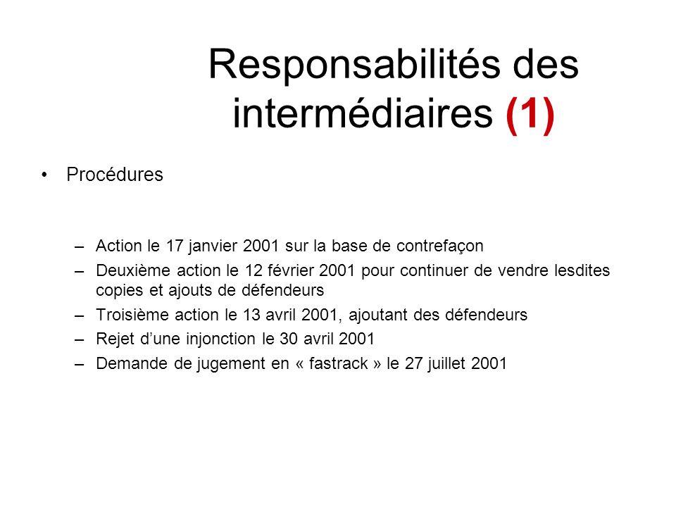 Responsabilités des intermédiaires (1) Procédures –Action le 17 janvier 2001 sur la base de contrefaçon –Deuxième action le 12 février 2001 pour conti