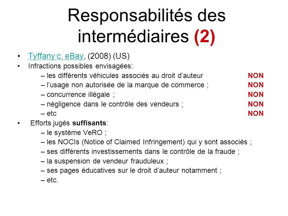 Responsabilités des intermédiaires (2) Tyffany c. eBay, (2008) (US)Tyffany c. eBay Infractions possibles envisagées: – les différents véhicules associ