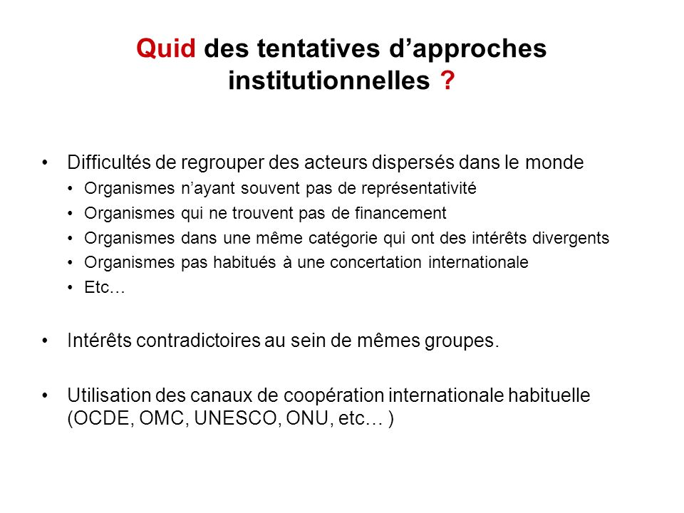 Le spamming États-Unis: CAN-SPAM Act (2004) –Régime de type opt-out Europe: Directives 95/46/EC et 2002/58/EC –Régime de type opt-in International: Report of the OECD Task Force on Spam (Avril 2006) –Très similaire au document canadien Stopping Spam, creating a stronger, safer Internet (Task Force on Spam), mai 2005