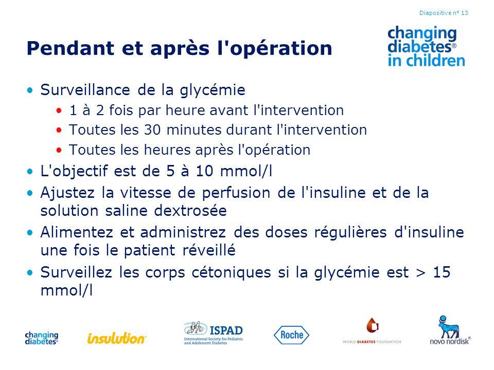 Pendant et après l'opération Surveillance de la glycémie 1 à 2 fois par heure avant l'intervention Toutes les 30 minutes durant l'intervention Toutes