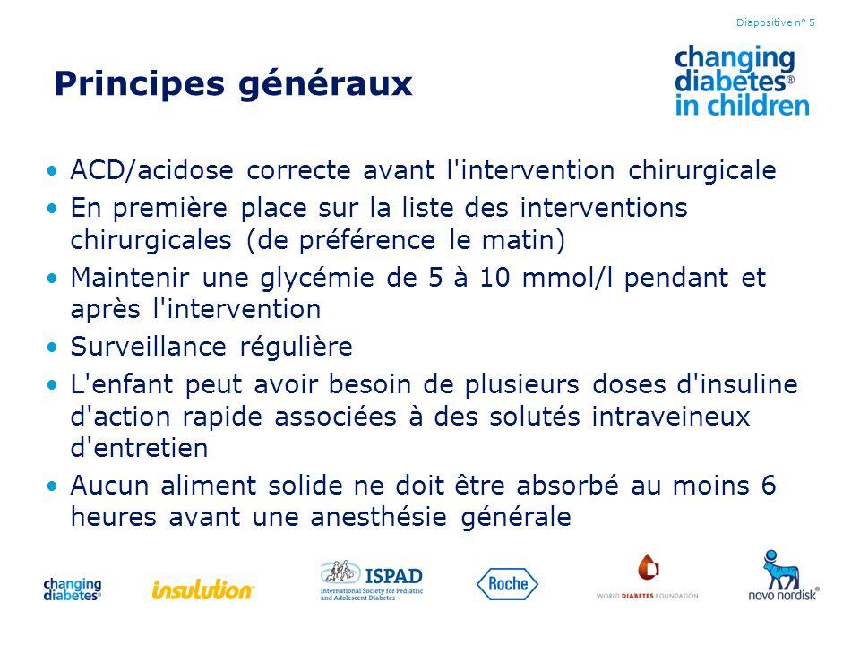 Principes généraux ACD/acidose correcte avant l'intervention chirurgicale En première place sur la liste des interventions chirurgicales (de préférenc