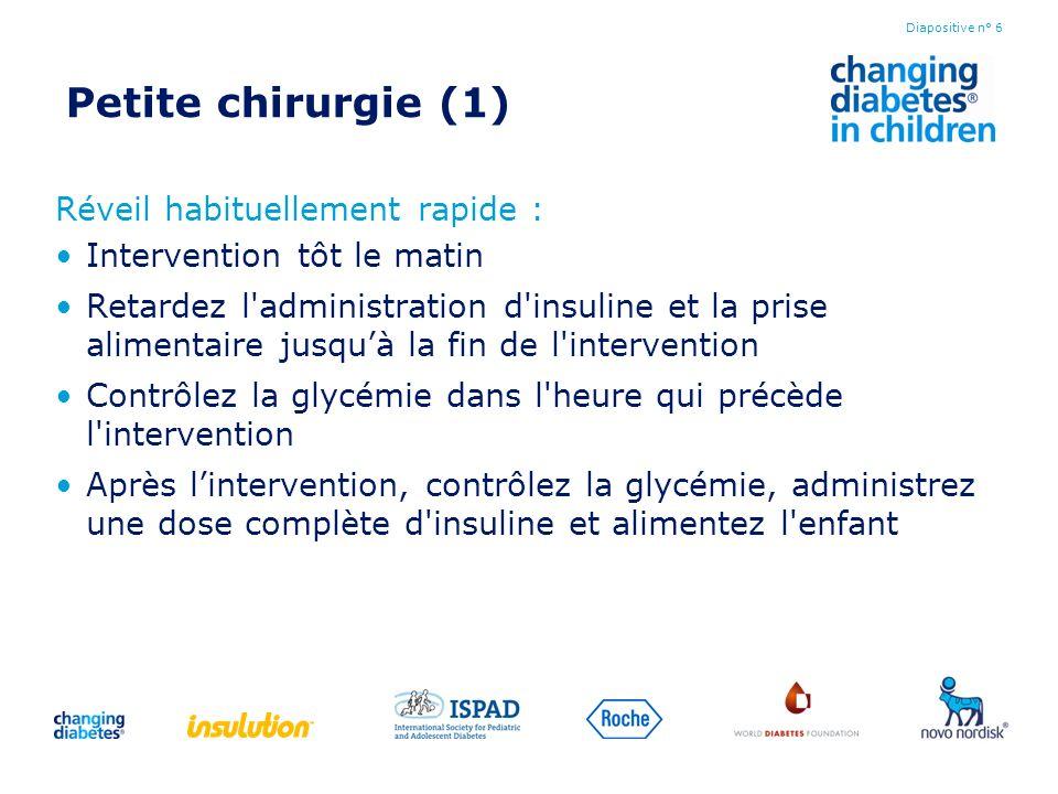 Petite chirurgie (1) Réveil habituellement rapide : Intervention tôt le matin Retardez l'administration d'insuline et la prise alimentaire jusquà la f