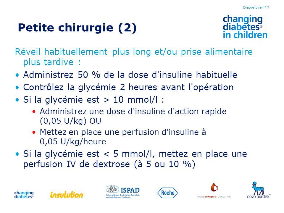 Petite chirurgie (2) Réveil habituellement plus long et/ou prise alimentaire plus tardive : Administrez 50 % de la dose d'insuline habituelle Contrôle