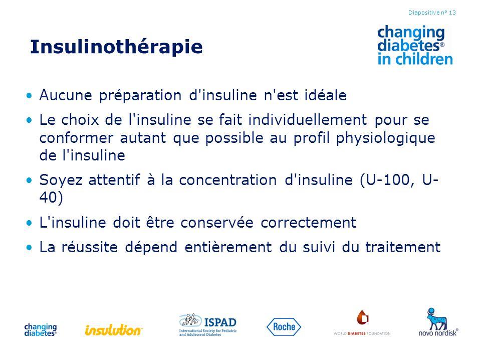 Insulinothérapie Aucune préparation d'insuline n'est idéale Le choix de l'insuline se fait individuellement pour se conformer autant que possible au p