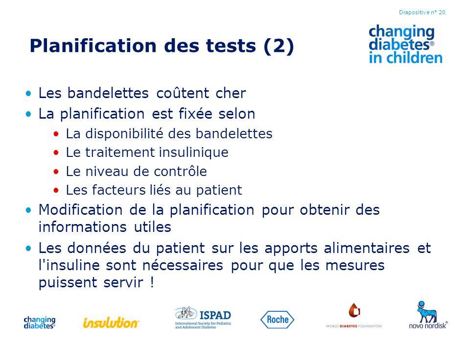 Planification des tests (2) Les bandelettes coûtent cher La planification est fixée selon La disponibilité des bandelettes Le traitement insulinique L