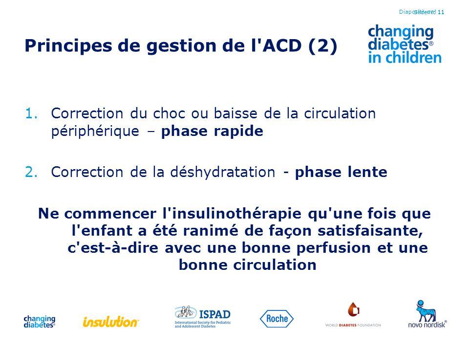 Slide No 11 Principes de gestion de l'ACD (2) 1.Correction du choc ou baisse de la circulation périphérique – phase rapide 2.Correction de la déshydra