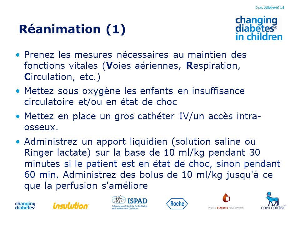 Slide No 14 Réanimation (1) Prenez les mesures nécessaires au maintien des fonctions vitales (Voies aériennes, Respiration, Circulation, etc.) Mettez