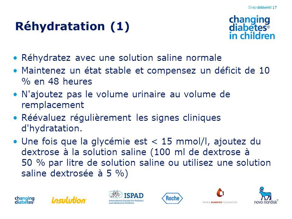 Slide No 17 Réhydratation (1) Réhydratez avec une solution saline normale Maintenez un état stable et compensez un déficit de 10 % en 48 heures N'ajou
