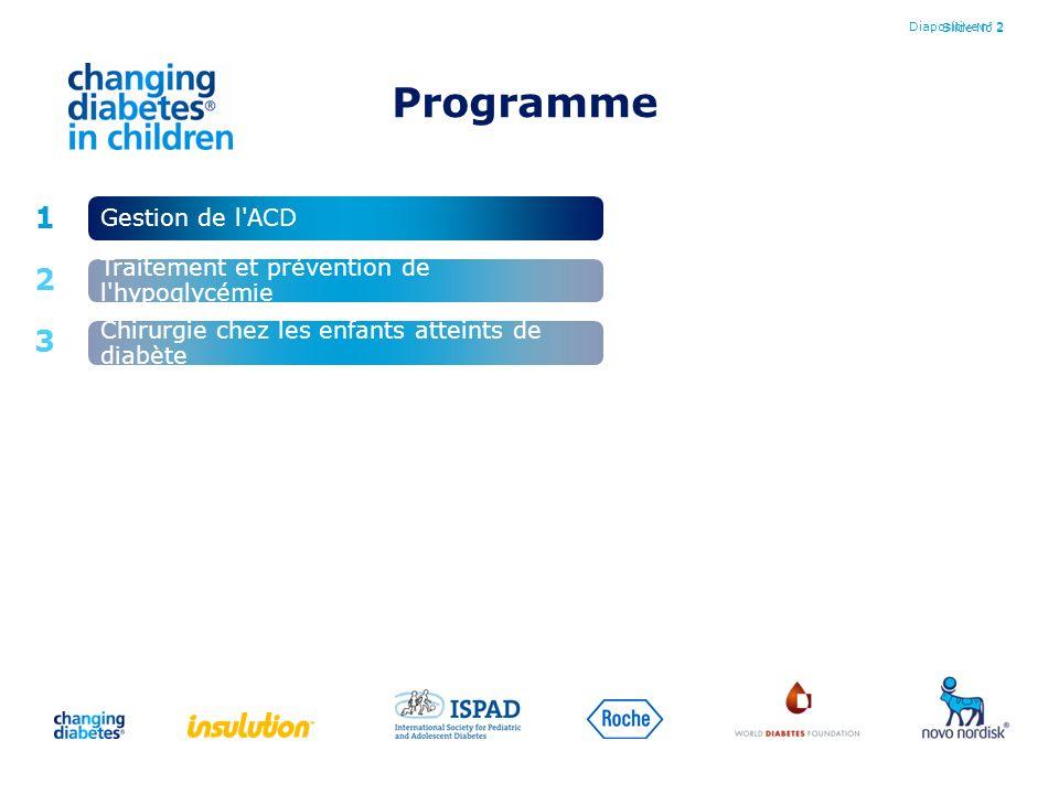 Slide No 2Diapositive n° 2 1 2 3 Gestion de l'ACD Chirurgie chez les enfants atteints de diabète Traitement et prévention de l'hypoglycémie Programme