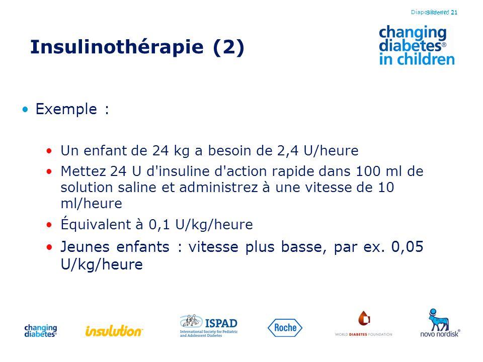 Slide No 21 Insulinothérapie (2) Exemple : Un enfant de 24 kg a besoin de 2,4 U/heure Mettez 24 U d'insuline d'action rapide dans 100 ml de solution s