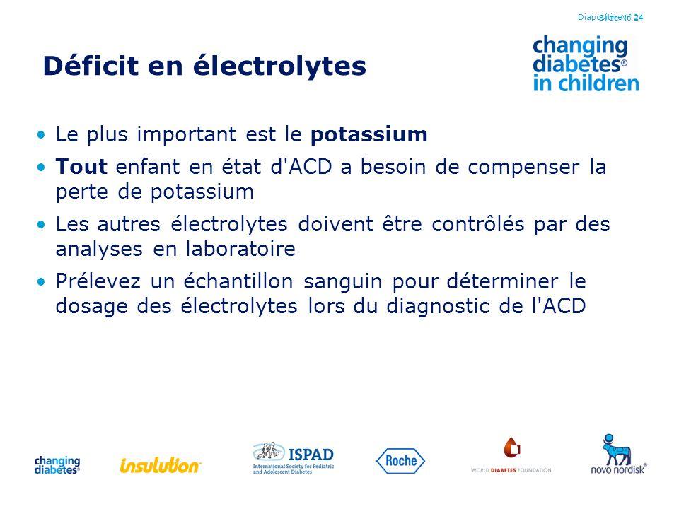 Slide No 24 Déficit en électrolytes Le plus important est le potassium Tout enfant en état d'ACD a besoin de compenser la perte de potassium Les autre