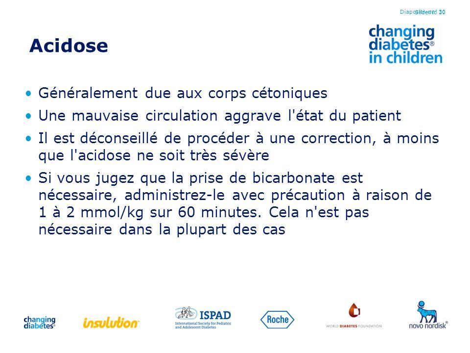 Slide No 30 Acidose Généralement due aux corps cétoniques Une mauvaise circulation aggrave l'état du patient Il est déconseillé de procéder à une corr