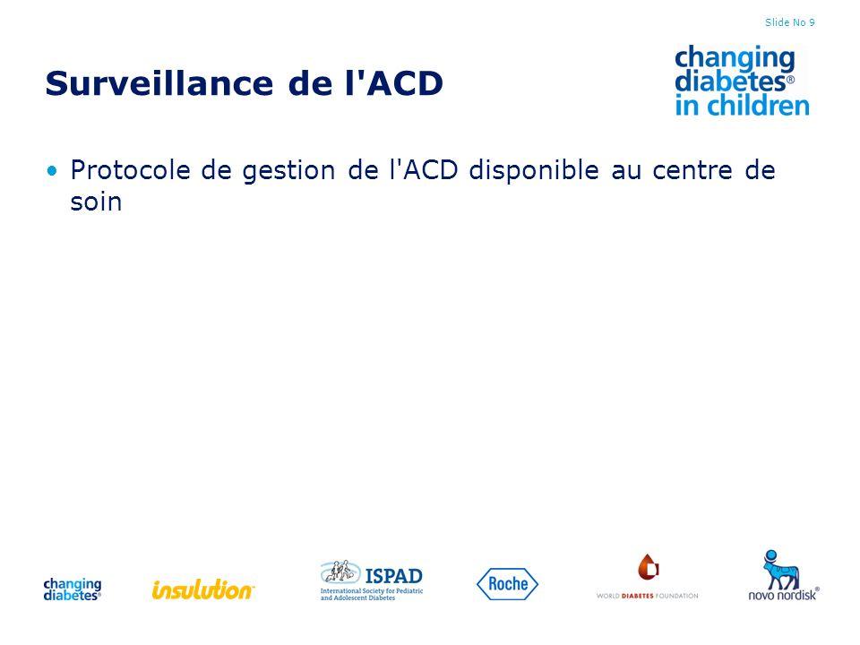 Slide No 9 Surveillance de l'ACD Protocole de gestion de l'ACD disponible au centre de soin