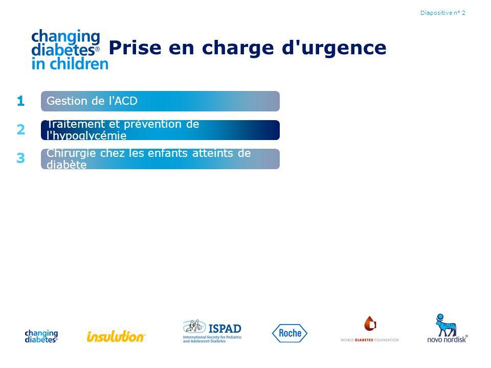 Prise en charge d'urgence Diapositive n° 2 1 2 3 Gestion de l'ACD Chirurgie chez les enfants atteints de diabète Traitement et prévention de l'hypogly
